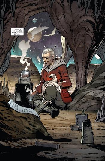 Jocasta Nu médite sur une planète inconnue