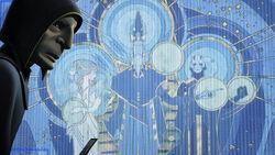 Hydan devant la fresque