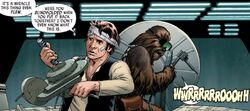 Han and Chewir repair the Falcon