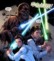 Leia Han et Chewie avec des sabres laser.png