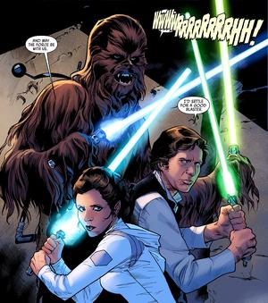 Leia Han et Chewie avec des sabres laser