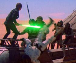 Combat entre Luke et les gardes