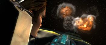 Mission pour balayer le couloir extérieur de l'Espace