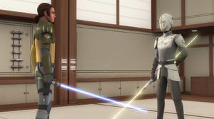 Kanan dans le dojo du Temple Jedi