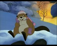 Beaver In Winter Outfit