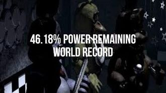 Worlds first and only 46% Power Left Run FNAF World Record