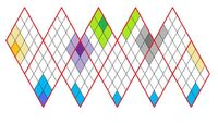 Icosahedron net tiled adjacent tiles