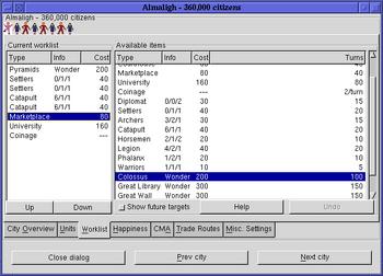 Citydlg worklists freeciv113 gtk