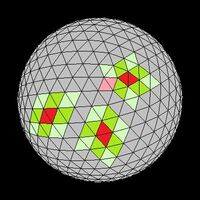 Icosahedron neighbors colored