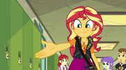 Sunset Shimmer is holding her hand