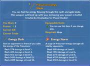 Precursor energy blade stats