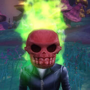 Flaming skull wobblehead