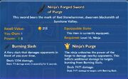Ninja's Forged Sword of Purge item