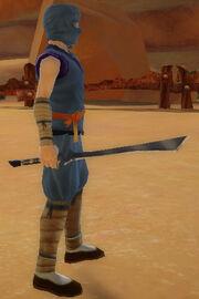 Ninja's Blade of 1000 Storms held