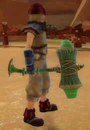 Warrior's Battle Hammer of Spinning held