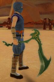 Ninja's Jagged Scythe of Dragonstrike held