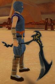 Ninja's Jagged Scythe of Shuriken Storm held