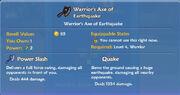 Warrior's Axe of Earthquake item