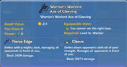 Warrior's Warlord Axe of Cleaving item