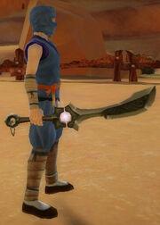 Ninja's Shadow Blade of Flame Wave held