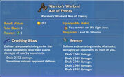 Warrior's Warlord Axe of Frenzy item