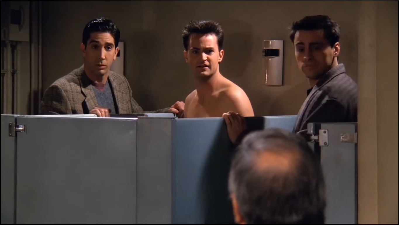 Ross, Chandler And Joey In The Bathroom.