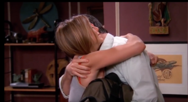 Rachel and Ross Hug - TOW Rachel Is Late