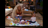 Phoebe babysitting the triplets
