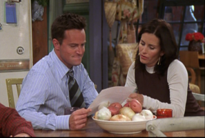Monica and Chandler look at Recommendation Letter (10x05)