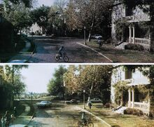 Fright Night 1985 Backlot Matte Painting comparison