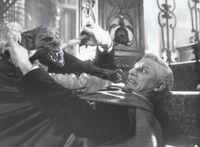 Fright Night 1985 Roddy McDowall with Vampire Bat