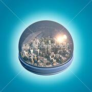 Dep 7233657-Glass-dome-city-scene