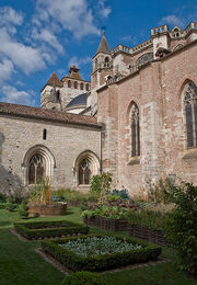 Medieval garden, Cahors Cathedral, Lot, France, Sept. 2008