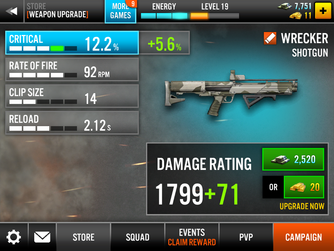 Wrecker Shotgun Stats Upgrade
