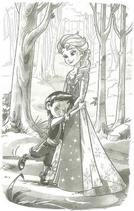Freddy hugs Elsa