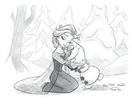 Elsa y Olaf abrazándose