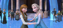 Elsa and Anna in courtyard