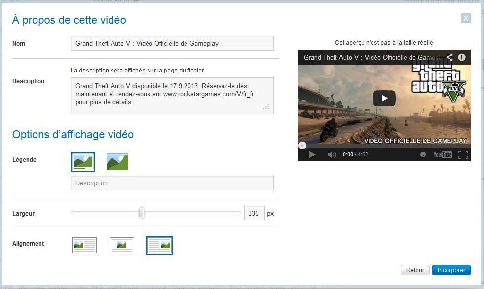 Éditeur - options vidéo