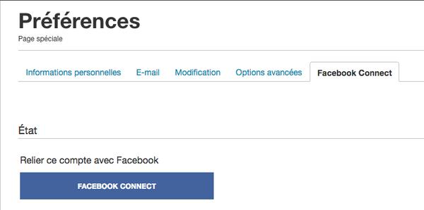 FB Connect - onglet préférences
