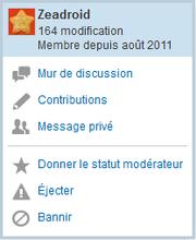 Tchat - menu utilisateur