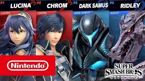Super Smash Bros. Ultimate – Gameplace de Samus sombre et Chrom (2 contre 2, changement de stage)