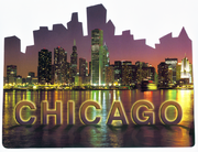 Cutout Shape Chicago Skyline Postcard CH126 F
