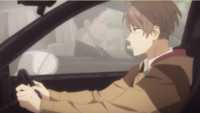Daisuke and Haru pass each other in their cars