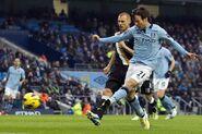 Man City 2-0 Fulham (Silva 1st goal)