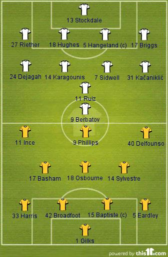 Fulham 1-1 Blackpool (Lineups)