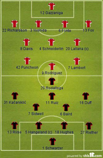 Southampton 2-2 Fulham (Lineups)