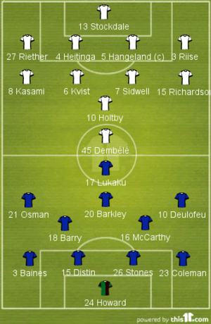 Fulham 1-3 Everton (2013-14 Lineups)