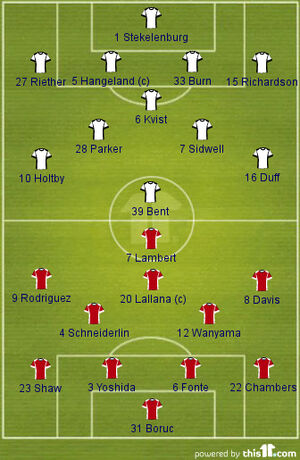 Fulham v Southampton (2013-14 Lineups)