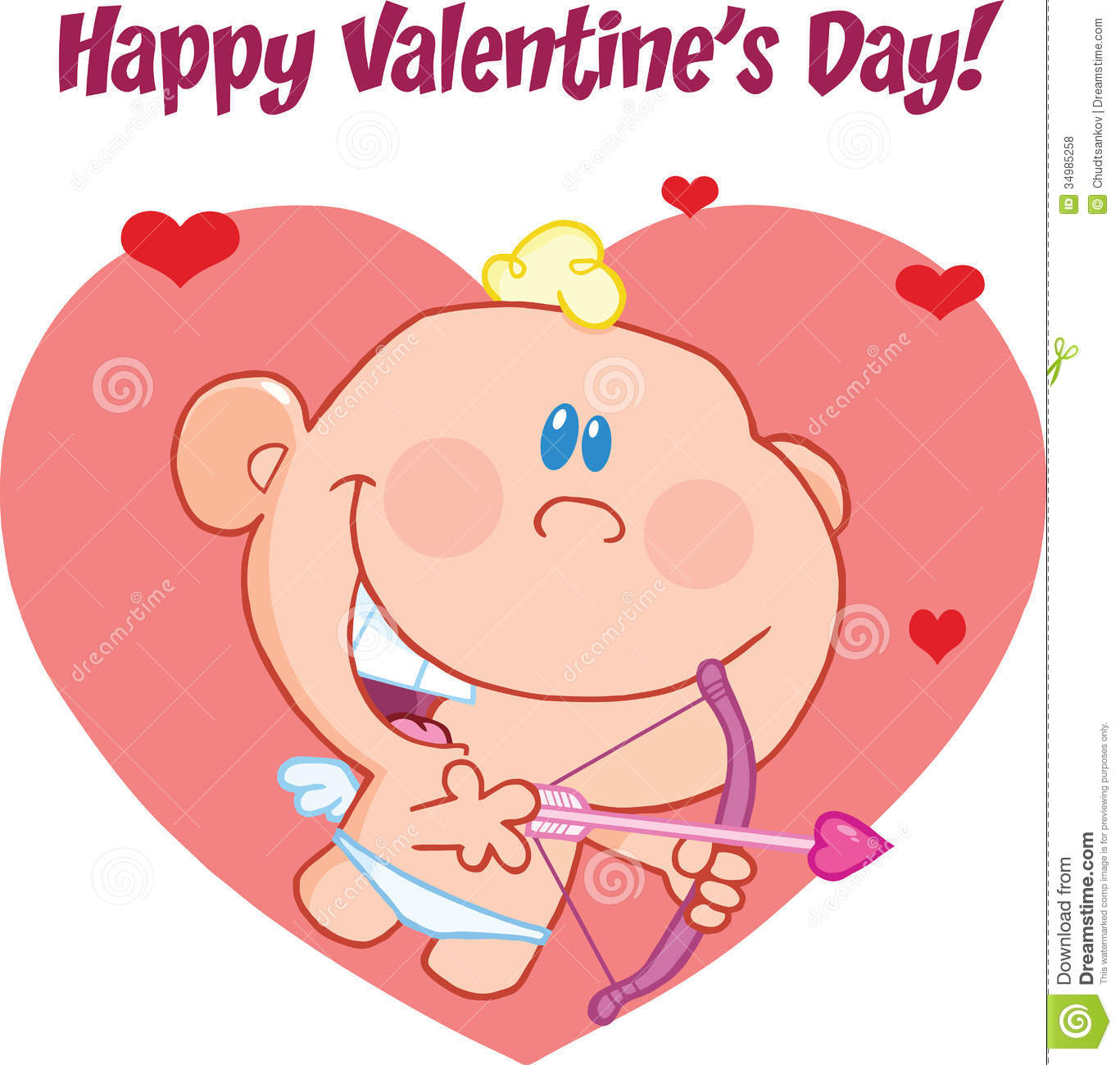Happy Valentine S Day Greeting Cute Baby  Cupid Flying Bow Arrow Cartoon Character 34985258