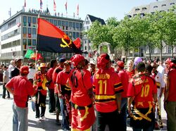 Fans of the Angolan national football team in Cologne